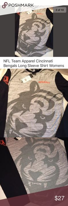 NFL woman's Cincinnati bengals shirt NFL gray with tiger on front With black sleeves size small NFL Tops Tees - Long Sleeve