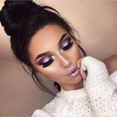 Smoky purple eye makeup look.