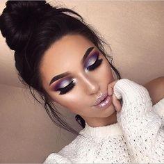 Smoky purple eye makeup look.