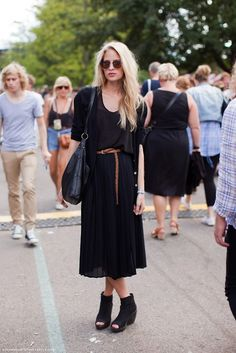 all black with a brown belt