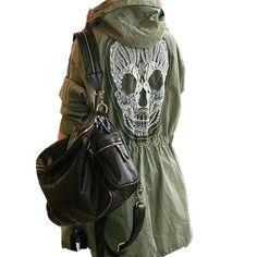 Military Skull Back Jacket $65