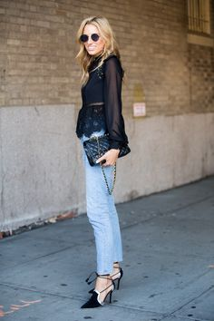 Blogger Lisa DiCicco Cahue wears Gentlemonster sunglasses, a Self-Portrait top, Chanel bag, AGOLDE denim, and Malone Souliers hand-made shoes at the Marissa Webb show during New York Fashion Week. Photo by Melodie Jeng/Getty Images  via @AOL_Lifestyle Read more: https://www.aol.com/article/lifestyle/2016/09/09/street-style-new-york-fashion-week-september-2016/21469241/?a_dgi=aolshare_pinterest#slide=4054327