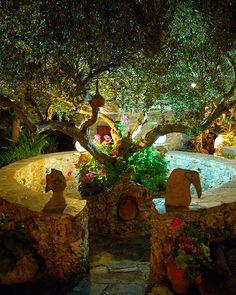 Garden feature of the fantastic Koumos Taverna near Kalives on the Greek island of Crete