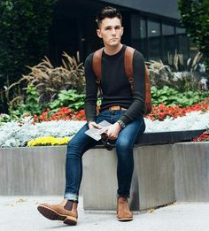 hot guy wearing brown shoes, jeans, black shirt and brown leather backpack http://www.99wtf.net/men/mens-fasion/latest-mens-casual-trouser-trend-2016/