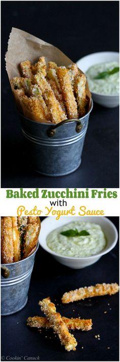 Baked Zucchini Fries with Pesto Yogurt Dipping Sauce…112 calories and 3 Weight Watchers PP   cookincanuck.com #recipe #vegetarian