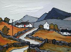 Wales ~ David Barnes ~ Welsh Cottages in Autumn Landscape Quilts, Landscape Art, Landscape Paintings, Art And Illustration, Welsh Cottage, Of Montreal, Jewish Art, Naive Art, Kandinsky