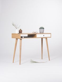 Console console met opslag, open plat, Scandinavisch design, halverwege de eeuw modern, midcentury modern, bureau, tafel, kleine tafel, klein bureau