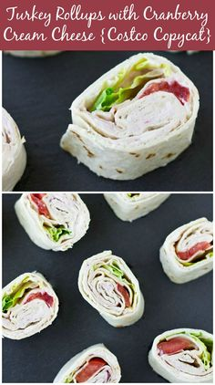 Turkey Roll Ups (Costco Copycat) Turkey Rollups with Cranberry Cream Cheese are a popular favorite from Costco but so easy to make at home for your next party! I Love Food, Good Food, Yummy Food, Tasty, Turkey Roll Ups, Catering, Great Recipes, Favorite Recipes, Roll Ups Recipes