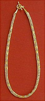 """Herringbone Dot Dash Beaded Rope Chain Pattern. Perfect for Mother's Day, Graduation, Bridesmaid gifts, or Birthdays. Even non-bead types love this necklace! Gorgeous in silver or copper. Could also use black or colored cylinder beads with the """"liquid metal"""" tubes. Pattern includes fully illustrated step by step instructions and color photo."""