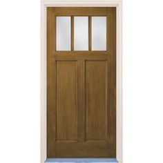 Craftsman English Walnut 2 Panel 3 Lite Stained Premium Fiberglass Prehung  Front Door With Brickmould
