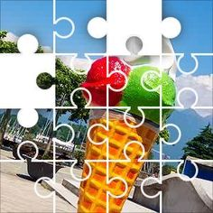 Ice Cream Cone Jigsaw Puzzle, 67 Piece Classic. Giant ice cream cone outside an ice cream shop. Very easy puzzle.