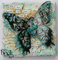Butterfly canvas -Beck Beattie helmar Decopage