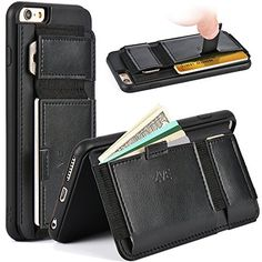 "nice ZVE® Full-body Protection Case, iPhone 6 Plus Case, Apple iPhone 6 Plus Case 5.5 Inch Slim Leather Wallet Cover with Stand Feature and Credit Card ID Holders for iPhone 6 Plus 5.5"" (Black)"