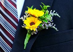 Two mini sunflowers perfectly offset the groom's navy suit in this boutonniere. Wedding Flower Arrangements, Flower Bouquet Wedding, Floral Wedding, Wedding Centerpieces, Floral Arrangements, Sunflower Boutonniere, Groom Boutonniere, Wedding Pins, Fall Wedding