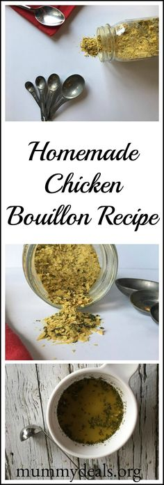This homemade chicken bouillon recipe is a great homemade chicken stock made using herbs and spices. No MSG, gluten free Chicken Bouillon Recipe.