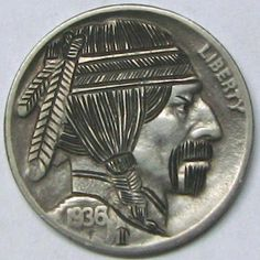 RUTH BORM HOBO NICKEL - BAD BIKER DUDE - 1936 BUFFALO PROFILE Hobo Nickel, Buffalo, Biker, Cactus, Coins, Carving, Profile, Personalized Items, User Profile