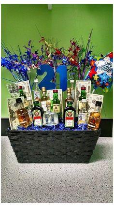 21st Birthday Gifts For Boyfriend, 21st Birthday Basket, Guys 21st Birthday, 21st Bday Ideas, 21st Birthday Presents, Birthday Gift Baskets, 21st Gifts, 21st Birthday Bouquet, Birthday Cakes