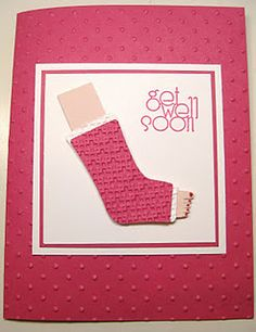Never thought of using the stocking punch for a cast!  Clever! my sister mimi needs to make this for me.   ***  I SAW IT and thought of you!