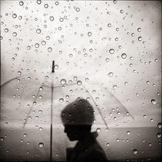 Raining... clear umbrella is lots of fun...