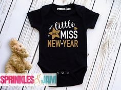 FREE SHIPPING Little Miss New Years Onesie ® - First New Year Onesie ®  - Happy New Year - Black and Gold New Year