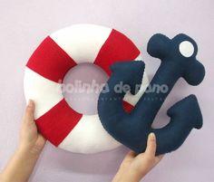 Enfeites de Marinheiro feitos em FELTRO. Bóia e Âncora com tamanhos de 30cm x…