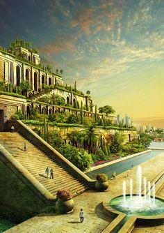 hanging gardens of babylon, mesopotamia, western asia Fantasy City, Fantasy Castle, Fantasy Places, Fantasy World, Ancient Mesopotamia, Ancient Civilizations, Fantasy Inspiration, Garden Inspiration, Ancient Architecture