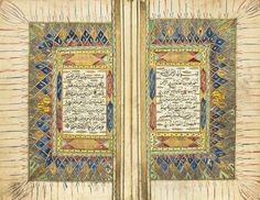 A QUR'AN AND TWO MINIATURE QUR'ANS OTTOMAN PROVINCES,19TH/20TH CENTURY Comprising a Qur'an 304ff.plus one fly-leaf,each folio with 15ll.of black naskh script,with gold roundel verse markers with polychrome highlights, sura headings in red within polychrome cartouche,text within red,black and gold rules,opening bifolio with gold and polychrome illuminated margins, catchwords,in composite brown morocco binding with flap;and two miniature Qur'ans, each with folios of 9ll.of loose naskh script