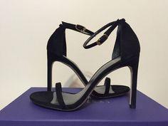 Stuart Weitzman Nudistsong Black Suede Women's Fashion Heels Sandals Size 6.5 M #StuartWeitzman #FashionHeelsSandals