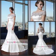 Discount 2014 Off The Shoulder Short Sleevless Mermaid Wedding Dresses Satin Beads Crystal Pearls Sheer Back Court Train Bridal Gowns JA9735 Online with $134.87/Piece | DHgate