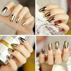 Gold metallic #Nails nail polish #nailart www.finditforweddings.com BUY it HERE