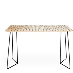 Deny Designs Allyson Johnson Tiny Polka Dots Desk Black By ($429) ❤ liked on Polyvore featuring home, furniture, desks, polka dot furniture, black home office desk, birch desk, birchwood furniture and birch wood furniture