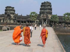 Globe Aware Volunteer Vacations  Cambodia  Monks on a walk