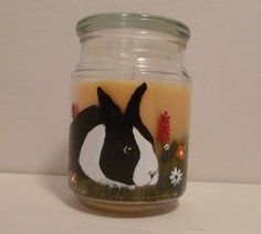 Hand Painted Easter Bunny Rabbit  Spring Jar by PetloversBoutique, $25.00