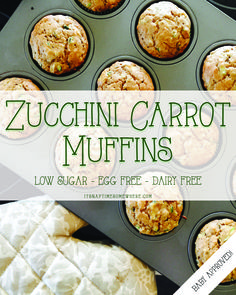 Low sugar, egg free, dairy free zucchini carrot muffins for baby. Yummy muffins are the perfect vessel for hiding healthy veggies for your kiddo!