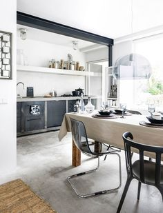 A HOME IN A GREY, BLACK AND BEIGE COLOR SCHEME   THE STYLE FILES really nice color scheme!
