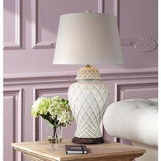 Lavoie Ivory Trellis Ceramic Table Lamp