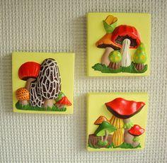 mushroom kitchen decor | ... Mushroom Wall Plaque Set of Three Colorful Bright Yellow Kitchen Decor