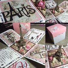 Paris Eiffel Tower Exploding Box invitation