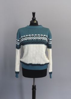 Vintage Retro 1980s Rob Winter Knit Sweater Geometric Polka Dot Medium Hipster Ski Sweater Nordic Scandinavian Sailor Chevron Blue Black