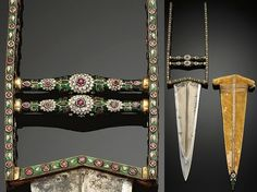 Indian katar, 17th to 18th century, watered steel blade with gilt steel and enamel inlaid with semiprecious stones India. The enameled handles with blossom motif in white and purple on a translucent green ground, with original fabric sheath with enameled tip, length 17 1/2 in. (44.5 cm).