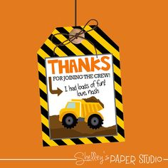 Construction Birthday Party- Favor Tags