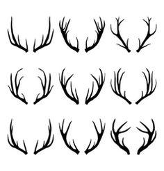 deer antlers collection vector