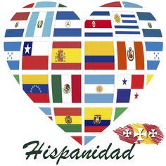 Corazón con banderas del Día de la Hispanidad - 2016
