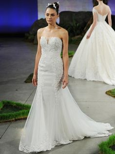 Ines Di Santo signature strapless gown with pearl embroidery over lace appliques at bodice and hemline
