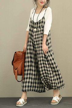 Plaid Linen Casual Women Overalls Loose Vintage Jumpsuit 3051 | FantasyLinen