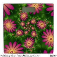 Pink Fantasy Flowers Modern Abstract Fractal Art Square Wall Clock - cool gift idea unique present special diy Fractal Art, Fractals, Unique Presents, Unique Gifts, Green Backgrounds, Neon Green, Cool Gifts, Bathroom Scales, Clock