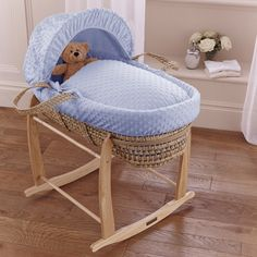 Buy Clair de Lune Palm Moses Basket (Dimple Blue) | PreciousLittleOne