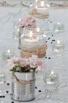 DIY - Small flower vases with cans! 20 ideas insp - flower ideas - DIY – Small flower vases with cans! 20 ideas insp DIY – Small flower vases with cans! Deco Champetre, Wedding Centerpieces, Diy Wedding Decorations, Pink Table Decorations, Centerpiece Ideas, Table Centerpieces, Vintage Decorations, Valentine Decorations, Decor Wedding
