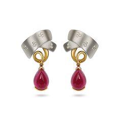 Rubelite and Diamond Earrings Ear Earrings, Diamond Earrings, Stone Carving, Diana, Hand Carved, White Gold, Gems, Sculpture, Curves