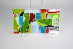 Fused Glass Tray in Confetti Glass by KrisCravensPottery on Etsy
